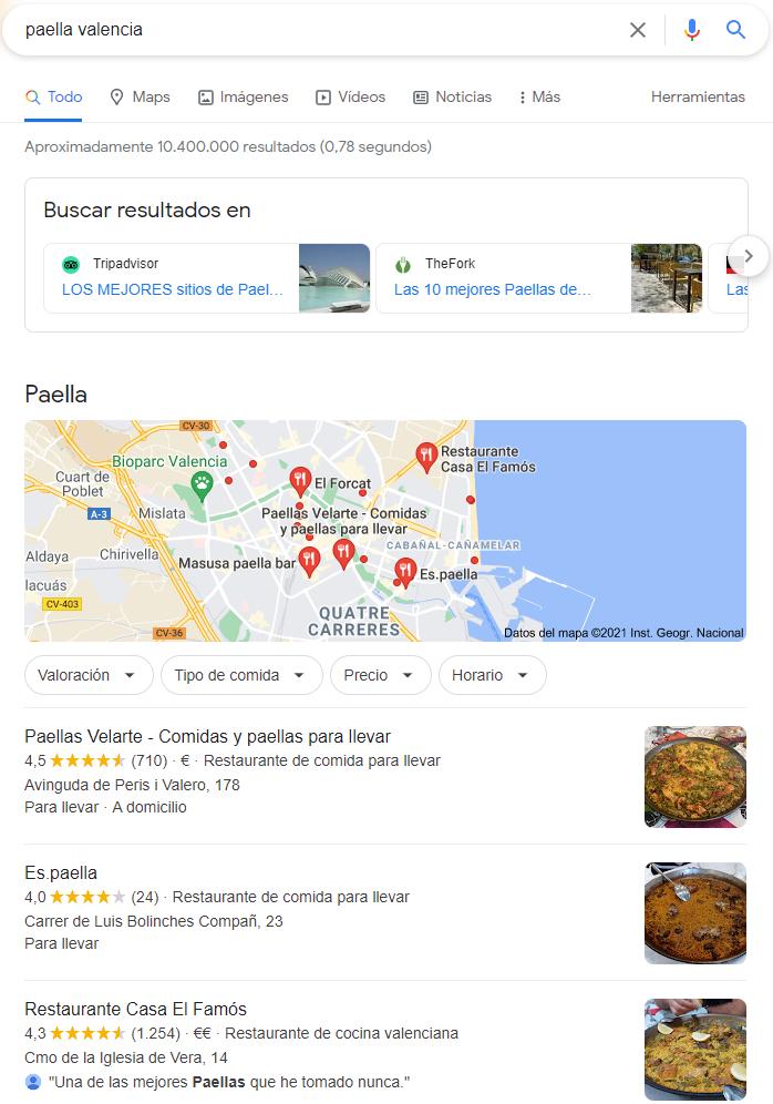 Búsqueda local de paella en Valencia en Google