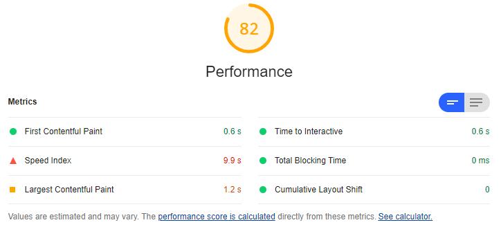 Ejemplo de resultado tras el análisis de Google Lighthouse